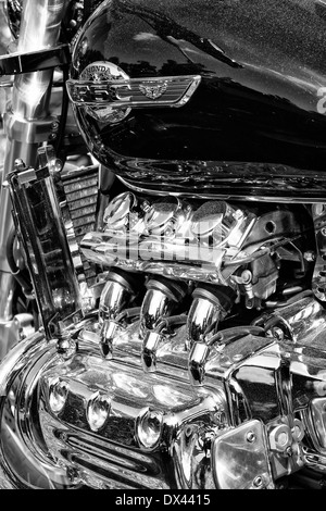 Japanese motorcycle engine Honda Valkyrie, close-up, black and white - Stock Photo