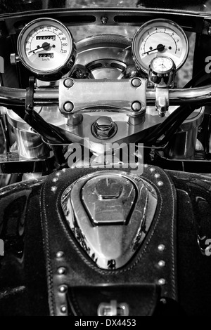 The dashboard and a fragment of petrol tank motorcycle Honda Valkyrie, black and white - Stock Photo