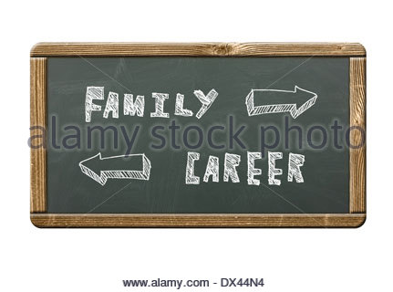 Family - Career written on a blackboard - Stock Photo