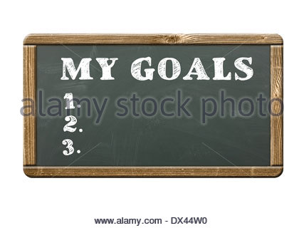 My new Goals - written on a blackboard - Stock Photo