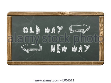 old way - new way written on a blackboard - Stock Photo