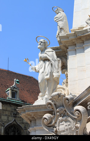Saint statue in the Holy Trinity column in front of Matthias Church. Budapest, Hungary - Stock Photo