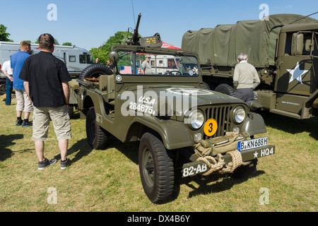 Military vehicles of the U.S. Army Jeep with 50 cal. Browning machine gun, - Stock Photo