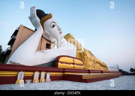 Reclining Buddha, statue, Maha Bodhi Ta Htaung, Monywa, Sagaing Region, Myanmar - Stock Photo