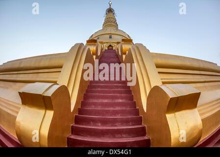 Red stairs, Sakkya Aung Pagoda, Maha Bodhi Ta Htaung, Monywa, Sagaing Division, Myanmar - Stock Photo