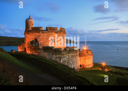 St Mawes Castle captured during twilight - Stock Photo