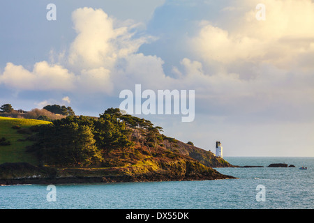 St Anthony Lighthouse captured from St Mawes in Cornwall - Stock Photo
