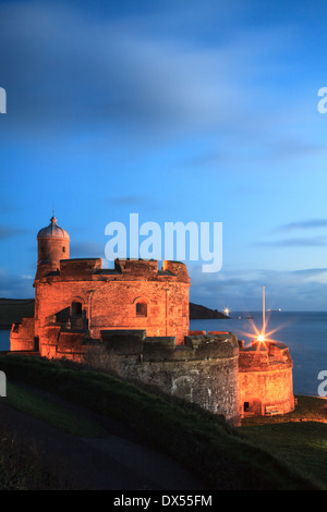 St Mawes Castle in Cornwall captured during twilight - Stock Photo