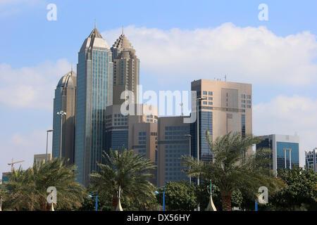 Highrise buildings on the Corniche, Abu Dhabi, Emirate of Abu Dhabi, United Arab Emirates - Stock Photo