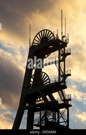 Headframe, Zeche Ewald colliery , Herten, Ruhrgebiet region, North Rhine-Westphalia, Germany - Stock Photo