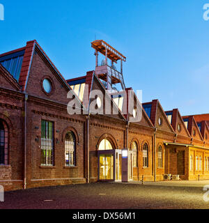 Zeche Ewald colliery at dusk, Herten, Ruhrgebiet region, North Rhine-Westphalia, Germany - Stock Photo