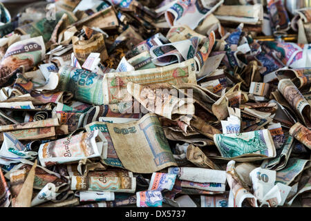 Banknotes, kyat currency, offerings, Buddhist monastery, Tuyin Taung Pagoda in Bagan, Mandalay Division, Myanmar - Stock Photo