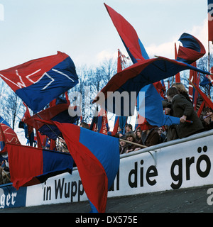 football, Regionalliga West, 1970/1971, Stadium am Zoo, football fans of Wuppertaler SV waving the club flags, ESTIMATED - Stock Photo