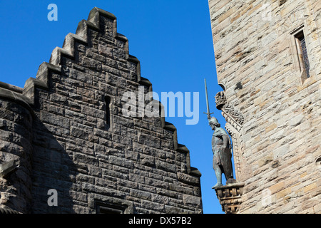 Statue of William Wallace on the National Wallace Monument on Abbey Craig, near Stirling, Scotland - Stock Photo