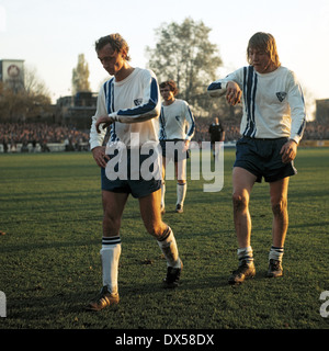 football, Bundesliga, 1973/1974, Stadium an der Castroper Strasse, VfL Bochum versus FC Bayern Munich 0:1, leaving, - Stock Photo