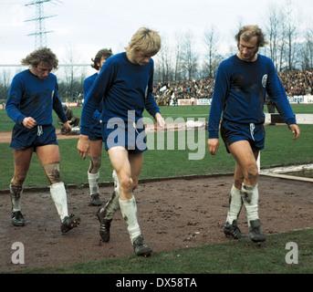 football, Regionalliga West, 1973/1974, Lohrheide Stadium, SG Wattenscheid 09 versus Sportfreunde Siegen 4:2, leaving, - Stock Photo