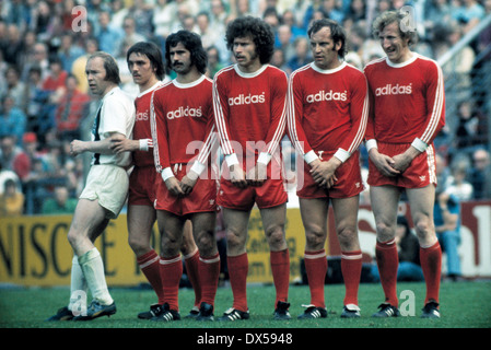 football, Bundesliga, 1973/1974, Stadium am Boekelberg, Borussia Moenchengladbach versus FC Bayern Munich 5:0, wall - Stock Photo