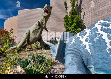 Triceratops, Tyrannosaurus rex, Cretaceous, Dinosaur Garden, Utah Field House of Natural History State Park Museum, - Stock Photo