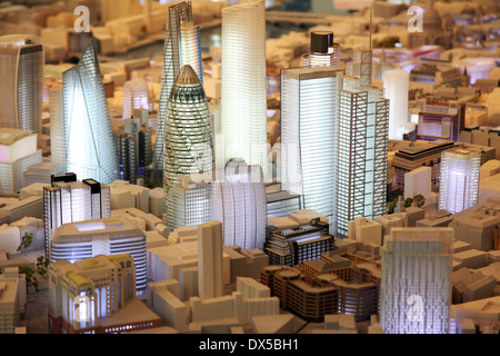 A model of skyscapers and towers that exist and are proposed to be built in the City of London - Stock Photo