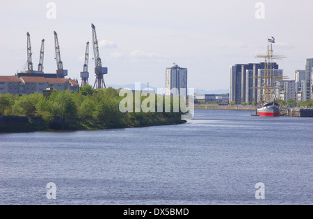 Partick and Govan waterfronts in Glasgow, Scotland - Stock Photo