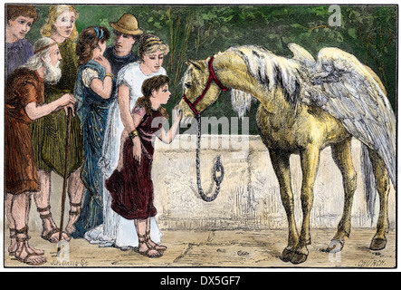 Pegasus petted by a young girl in ancient Greece. Hand-colored woodcut - Stock Photo