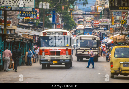TEGUCIGALPA, HONDURAS - Buses and traffic in Comayaguela neighborhood. - Stock Photo