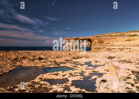 Azure Window (Tiequ Zerqa) Dwejra Bay, Dwejra Point, San Lawrenz, Gozo, Malta. - Stock Photo