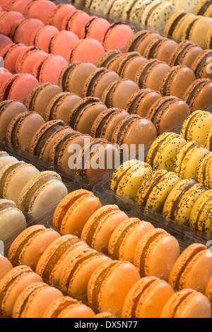 A display of varied macaroons (France).  Présentation de macarons variés (France). - Stock Photo