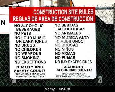 Construction site safety sign rules and regulations for for Construction rules and regulations