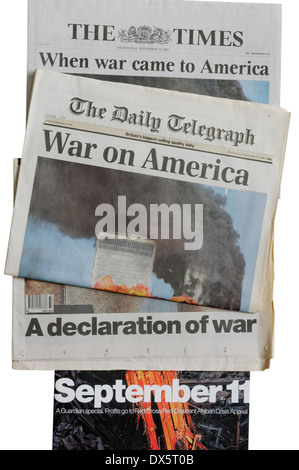 English newspapers from 11th September 2001 announcing the attacks on New York - Stock Photo