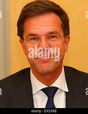 Hague, Netherlands. 17th Mar, 2014. Dutch Prime Minister Mark Rutte is interviewed by Xinhua News Agency in Hague, - Stock Photo