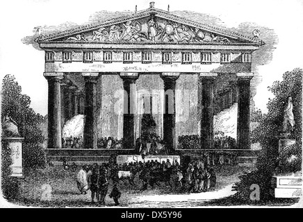 Ancient Greek temple, illustration from book dated 1878 - Stock Photo