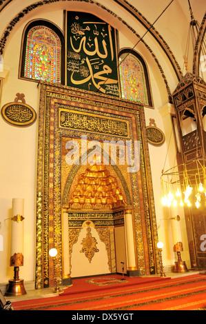 BURSA, TURKEY - NOVEMBER 17: An interior view of Great Mosque (Ulu Cami) on November 17, 2010 in Bursa, Turkey - Stock Photo