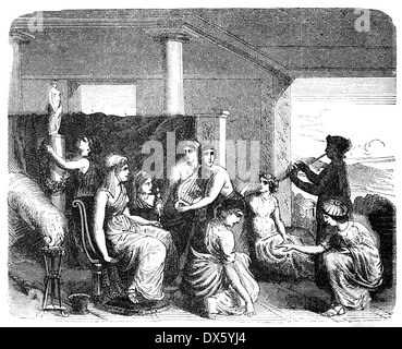 Ancient Greek women, illustration from book dated 1878 - Stock Photo