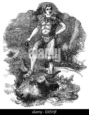 Theseus Slaying Minotaur, illustration from book dated 1878 - Stock Photo