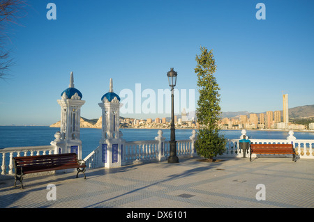 Scenic city views from Benidorm old town vantage point - Stock Photo