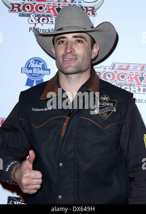 Guilherme Marchi Professional Bull Rider Superstars walk the red carpet at PBR Rock Bar inside The Miracle Mile - Stock Photo