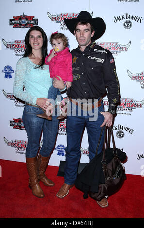 Fabiano Vieira and family Professional Bull Rider Superstars walk the red carpet at PBR Rock Bar inside The Miracle - Stock Photo