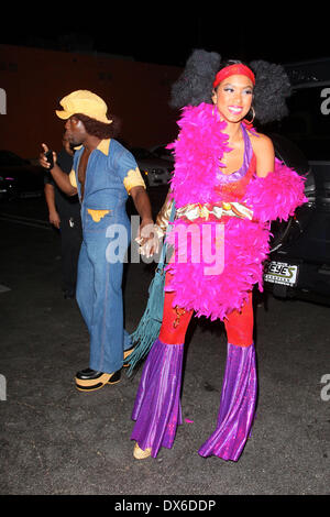kevin hart and guest arrive at rihannas halloween party held at greystones manor in west hollywood