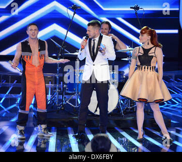 Jake Shears and Ana Matronic The Scissor Sisters perform live on the Italian 'X Factor' Featuring: Jake Shears and - Stock Photo