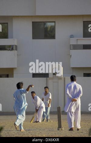 Middle East, UAE, Abu Dhabi, Al Ain, Local Cricket Match - Stock Photo