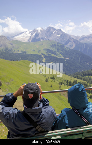 Europe, Italy, Italian Dolomites, Trento & Bolzano Provinces, Sella Pass, Hikers - Stock Photo