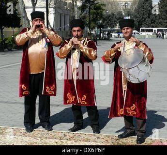 Baku, Azerbaijan. 19th Mar, 2014. Azerbaijani musicians perform during celebration of the Persian New Year, known - Stock Photo