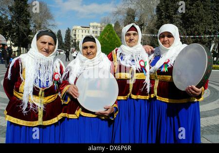 Baku, Azerbaijan. 19th Mar, 2014. Azerbaijani women perform traditional instruments during celebration of the Persian - Stock Photo