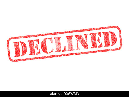 'DECLINED' red rubber stamp over a white background. - Stock Photo