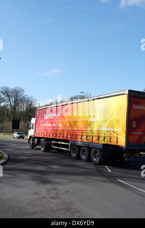 An articulated truck traveling on the A23 road in Coulsdon, Surrey, England - Stock Photo