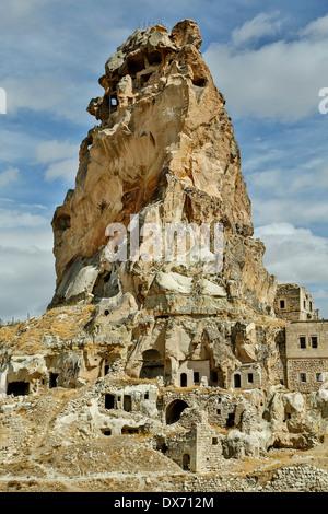 'Castle' and cave dwellings, Ortahisar, Cappadocia, Turkey - Stock Photo