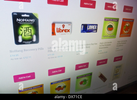 Legal highs available to buy on an Internet website. - Stock Photo
