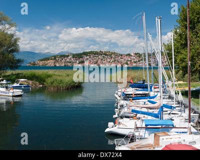 Boats in the marina of the UNESCO protected city and lake of Ohrid, Macedonia - Stock Photo