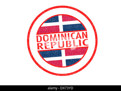 Passport-style DOMINICAN REPUBLIC rubber stamp over a white background. - Stock Photo